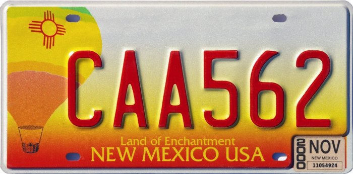 New Mexico Balloon License Plates